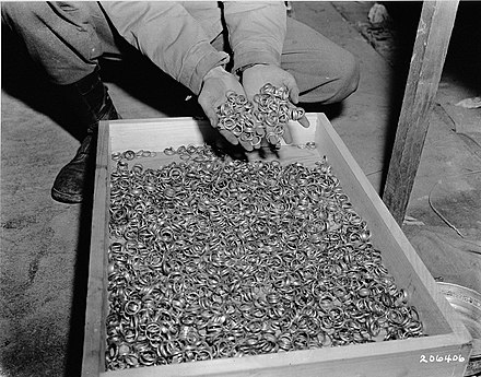 As Minister of Economics, Walther Funk accelerated the pace of re-armament and as Reichsbank president banked for the SS the gold rings of Nazi concentration camp victims Buchenwald Property 80623.jpg