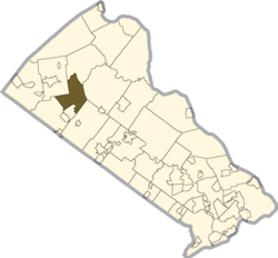 Location of East Rockhill Township in Bucks County