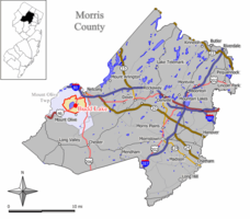 Map of Budd Lake CDP in Morris County. Inset: Location of Morris County in New Jersey.