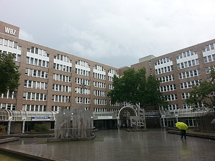 Building of the Folk high school (Volkshochschule) and the central library (Zentalbibliothek der Stadtbibliothek) of Dusseldorf Building of the Volkshochschule Dusseldorf and Stadtbibliothek Dusseldorf.jpg