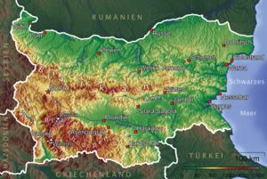 Bulgária német nyelvű dombozati térképe