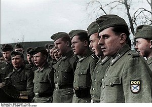Russian Liberation Army - ROA troops with shoulder patches visible, Belgium or France, 1944.