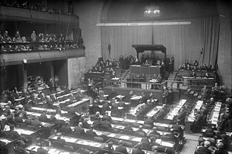 World War II - The League of Nations assembly, held in Geneva, Switzerland, 1930