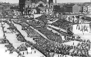 3rd World Festival of Youth and Students Event organised by World Federation of Democratic Youth which was held in East Berlin, East Germany, in 1951