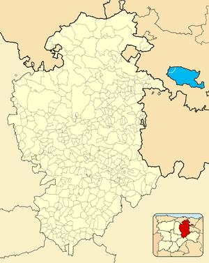 Treviño enclave - Location of the enclave of Treviño (in blue) in the province of Burgos. The larger of the two units within the enclave is the Condado de Treviño; the smaller is La Puebla de Arganzón.