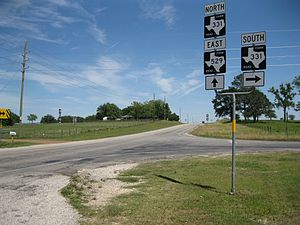 Farm to Market Road 331 - Image: Burleigh TX FM 331 and 529