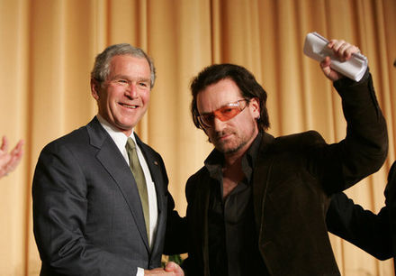 Bono and then-U.S. President George W. Bush in 2006 Bush and Bono.jpg