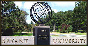 Bryant University - The Bryant logo at the entrance to the University