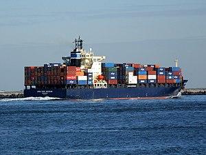 CMA CGM Aegean p5 approaching Port of Rotterdam, Holland 21-Feb-2005.jpg
