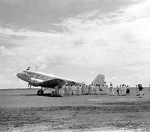 Aviation in Indonesia - DC-2 at Oelin airport near Banjarmasin in 1935