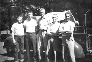 Civilian Public Service - Civilian Public Service firefighting crew at Snowline Camp near Camino, California, 1945.