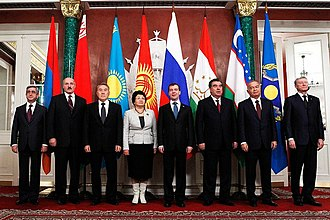 Islam Karimov - Karimov (2nd from right) at the CSTO meeting