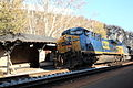 CSX feight train passing the west bound line at Harpers Ferry station. The hut for passenger is also in the photo..JPG