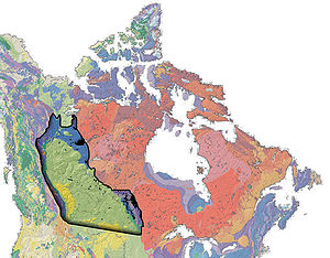History of the petroleum industry in Canada - Geological map of Canada The bulk of oil and gas production occurs in the Western Canadian Sedimentary Basin (mostly light green), which stretches from southwestern Manitoba to northeastern BC. Nearly one and a half million square kilometres in area, the basin also covers most of Alberta, the southern half of Saskatchewan and the southwest corner of the Northwest Territories.