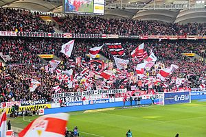 "Mercedes-Benz Arena (Stuttgart) - ""Cannstatter Kurve"" is the area for the fans of VfB Stuttgart"