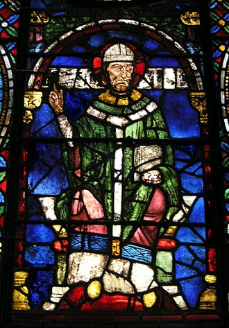Reginald Fitz Jocelin - Stained glass window from Canterbury Cathedral depicting Thomas Becket, who Reginald served briefly.