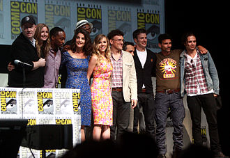 Captain America: The Winter Soldier - The cast and crew of Captain America: The Winter Soldier at the 2013 San Diego Comic-Con International. (L-R: producer Kevin Feige, VanCamp, Mackie, Smulders, Jackson, Johansson, directors Anthony and Joe Russo, Evans, Grillo, Stan)