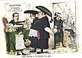 Caricatura editada en la revista La Flaca en 1869. El clero visto como cómplice del carlismo.JPG