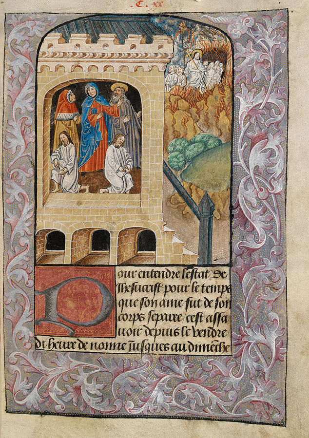 Carimes and Lentius writing their narrative of the harrowing of hell