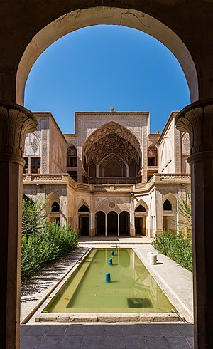 Abbāsi House, a large traditional historical house located in Kashan, Iran.