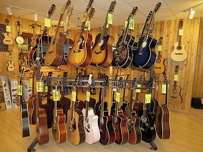 A selection of acoustic guitars at Cascio Interstate Music SuperStore. Cascio Interstate Music SuperStore Acoustic Guitar Cabin.jpeg