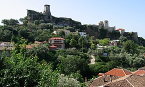 Castle of Kruja and Skanderbeg Museum over the skyline