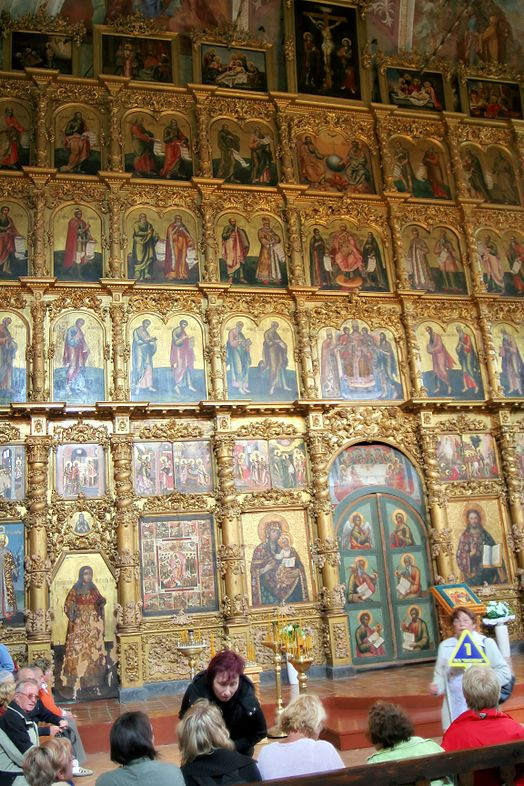 An iconostasis separates the sanctuary from the nave in Byzantine Rite churches. Here is shown part of a six-row iconostasis at Uglich Cathedral. North Deacon's Door (left) and Holy Doors (right). Cathedral Uglich inside 01.jpg