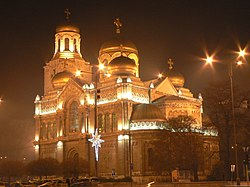 Cathedral at christmas in Varna, Bulgaria.jpg