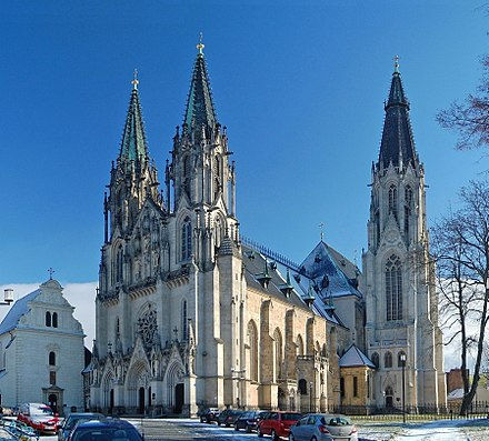 Catholicism is the major religion at 10% of the population; Saint Wenceslas Cathedral in Olomouc pictured. Cathedral of Saint Wenceslas.jpg