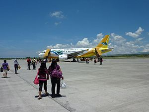 General Santos International Airport - Passengers boarding into a Cebu Pacific Airbus A319