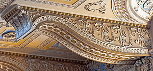 Bracket (architecture) - Image: Ceiling bracket detail at chapel, Greenwich Hospital, London