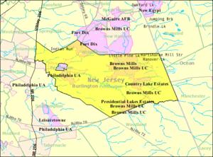 Pemberton Township, New Jersey - Image: Census Bureau map of Pemberton Township, New Jersey