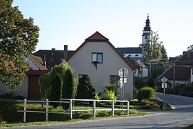 Center with church of Saint Lawrence in Červená Lhota, Stařeč, Třebíč District.jpg