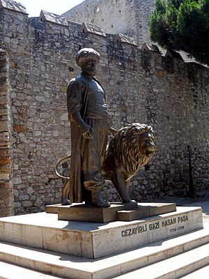 Cezayirli Gazi Hasan Paşa Monument - Monument in front of the historical castle.