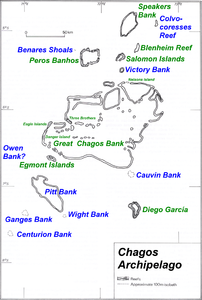 Map of Chagos-Archipelago in the Indian Ocean.