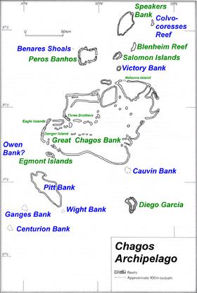 Carte de l'archipel des Chagos.