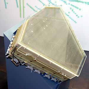 Wire chamber - Cut-away showing interior of a drift chamber