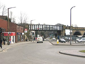 Chapeltown, South Yorkshire - Railway bridge and road junction in the town centre