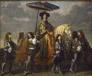 Pierre Séguier - Pierre Séguier entering Paris with Louis XIV of France in 1660, painted by Charles Le Brun, c. 1670.