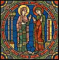 Chartres Kirchenfenster - Das Leben des Jesus Motiv 02 Der Besuch Marias bei Elisabet Lk. 1.39.jpg