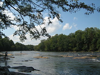 Peachtree Corners, Georgia - The Chattahoochee River, seen here at Jones Bridge Park, flows through many of Peachtree Corners' neighborhoods.