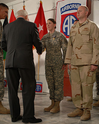 Silver Star - Army Specialist Monica Lin Brown receives the Silver Star from then-Vice President Dick Cheney, 2008.