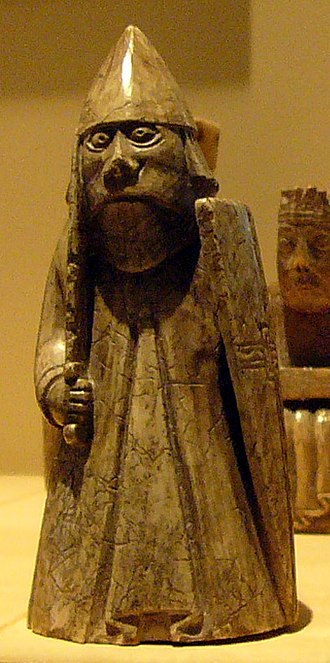Óspakr-Hákon - A rook gaming piece of the so-called Lewis chessmen. The Scandinavian connections of leading members of the Isles may have been reflected in their military armament, and could have resembled that depicted upon such gaming pieces.