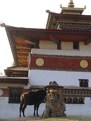 Chimi Lhakhang - View of Chimi Monastery and the chorten