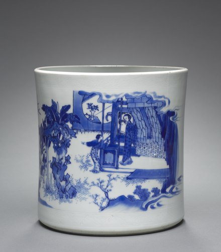 Brush pot with the pot-breaking episode from the story of Sima Guang, Transitional porcelain. China, Jiangxi province, Jingdezhen, Qing dynasty, Shunzhi period - Brush Pot with Episode from Life on Sima Guang - 1964.179 - Cleveland Museum of Art.tif