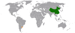 Map indicating locations of China and Uruguay