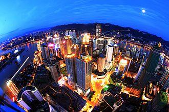 Chongqing - Jiefangbei CBD, Central Chongqing at night
