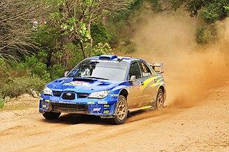 Rally Italia Sardegna - Chris Atkinson driving a Subaru Impreza WRC at the 2008 rally.