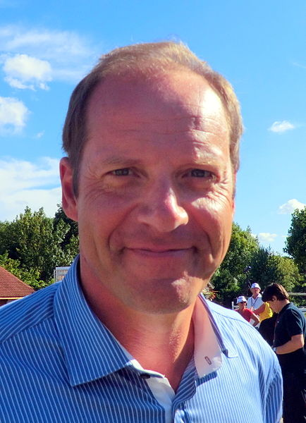 Christian Prudhomme (CEO of ASO. ASO is involved in organization of Tour de l'Avenir) at Saint-Vulbas for attending to the second stage of Tour de l'Avenir 2013.