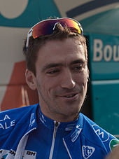 Christophe Riblon wearing a blue cycling jersey.